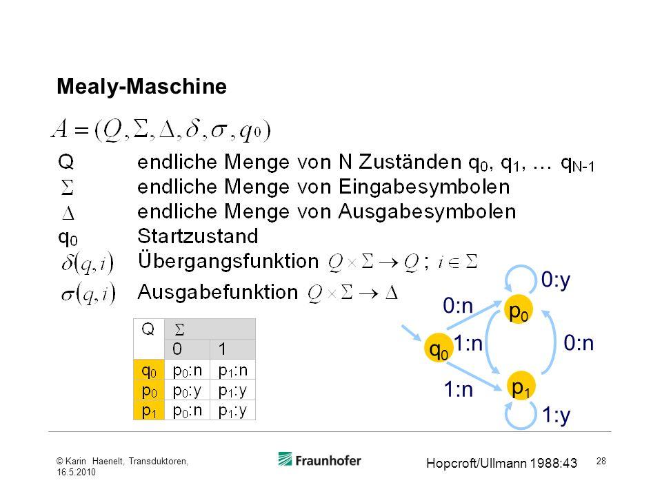 Mealy-Maschine 0:y 0:n p0 1:n 0:n q0 1:n p1 1:y