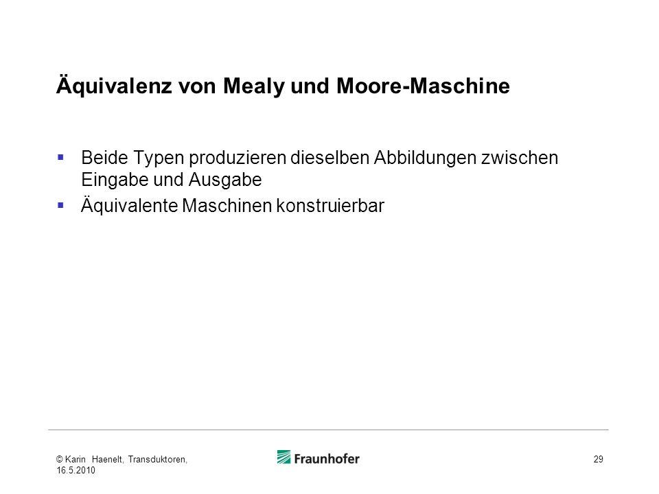 Äquivalenz von Mealy und Moore-Maschine
