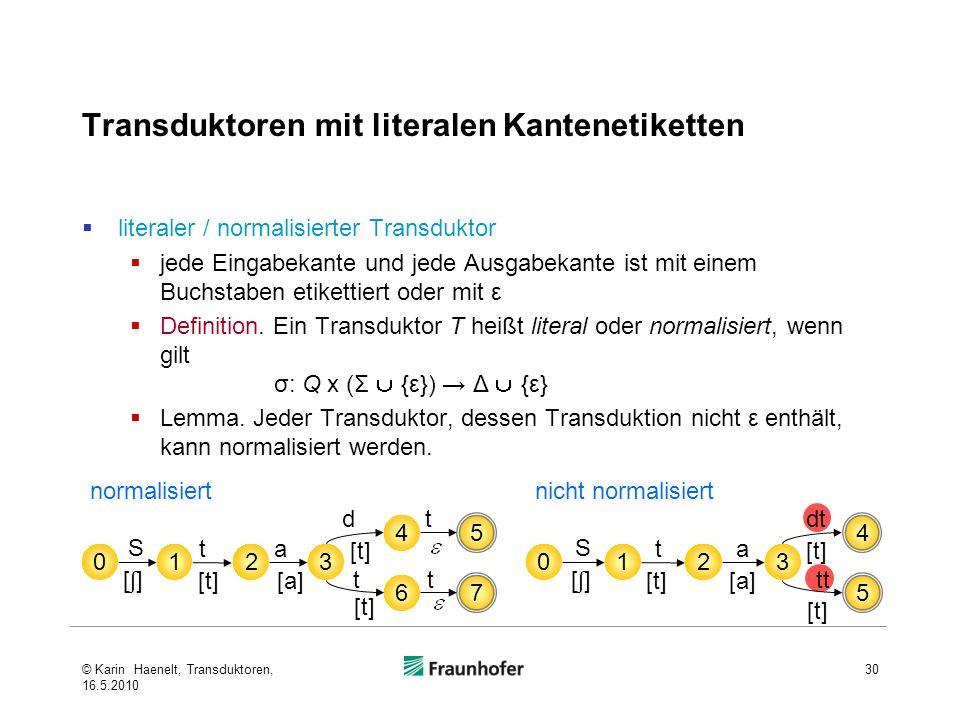 Transduktoren mit literalen Kantenetiketten