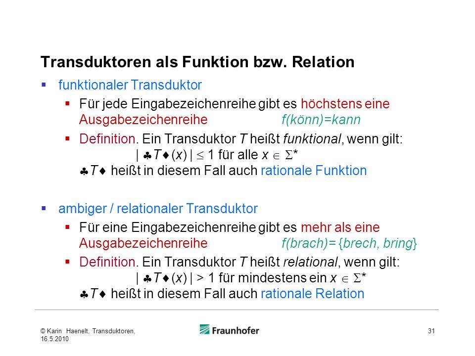 Transduktoren als Funktion bzw. Relation