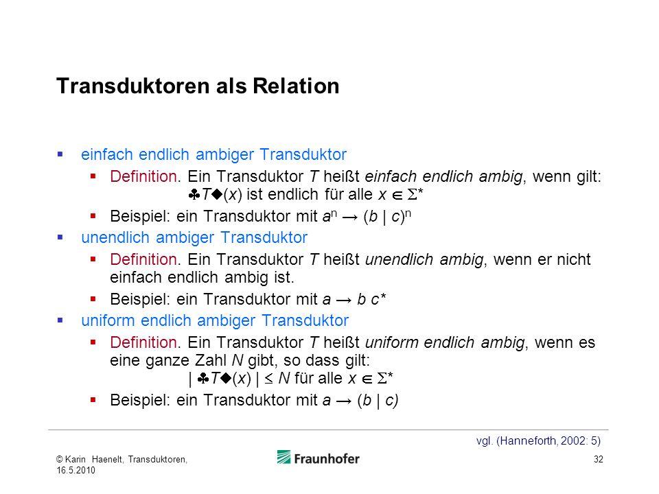Transduktoren als Relation