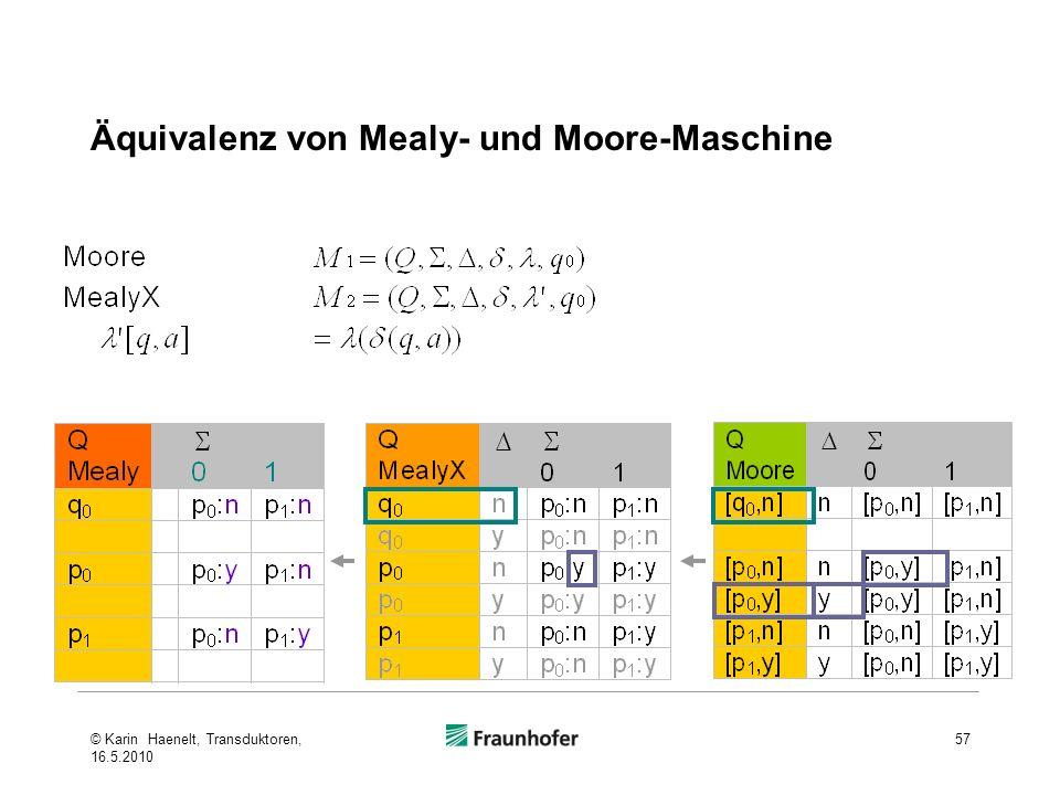 Äquivalenz von Mealy- und Moore-Maschine