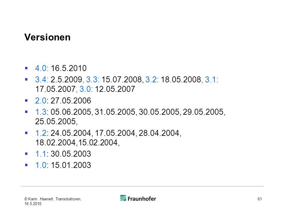 Versionen 4.0: 16.5.2010. 3.4: 2.5.2009, 3.3: 15.07.2008, 3.2: 18.05.2008, 3.1: 17.05.2007, 3.0: 12.05.2007.