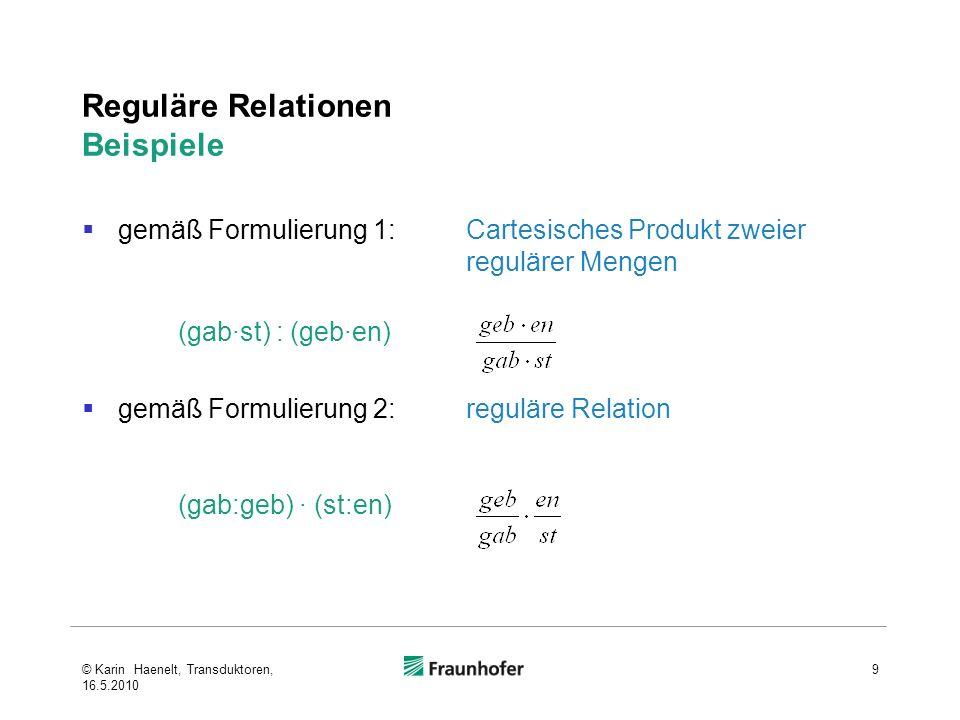 Reguläre Relationen Beispiele