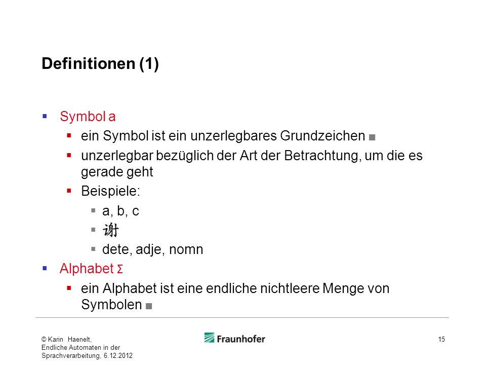 Definitionen (1) Symbol a