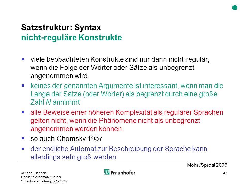 Satzstruktur: Syntax nicht-reguläre Konstrukte