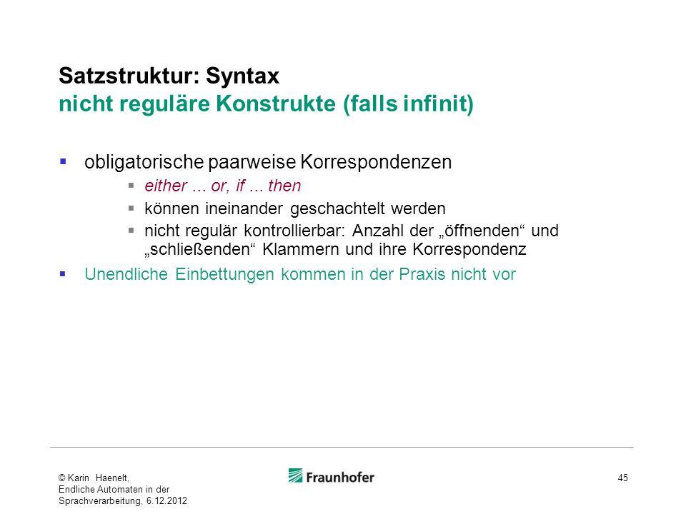 Satzstruktur: Syntax nicht reguläre Konstrukte (falls infinit)
