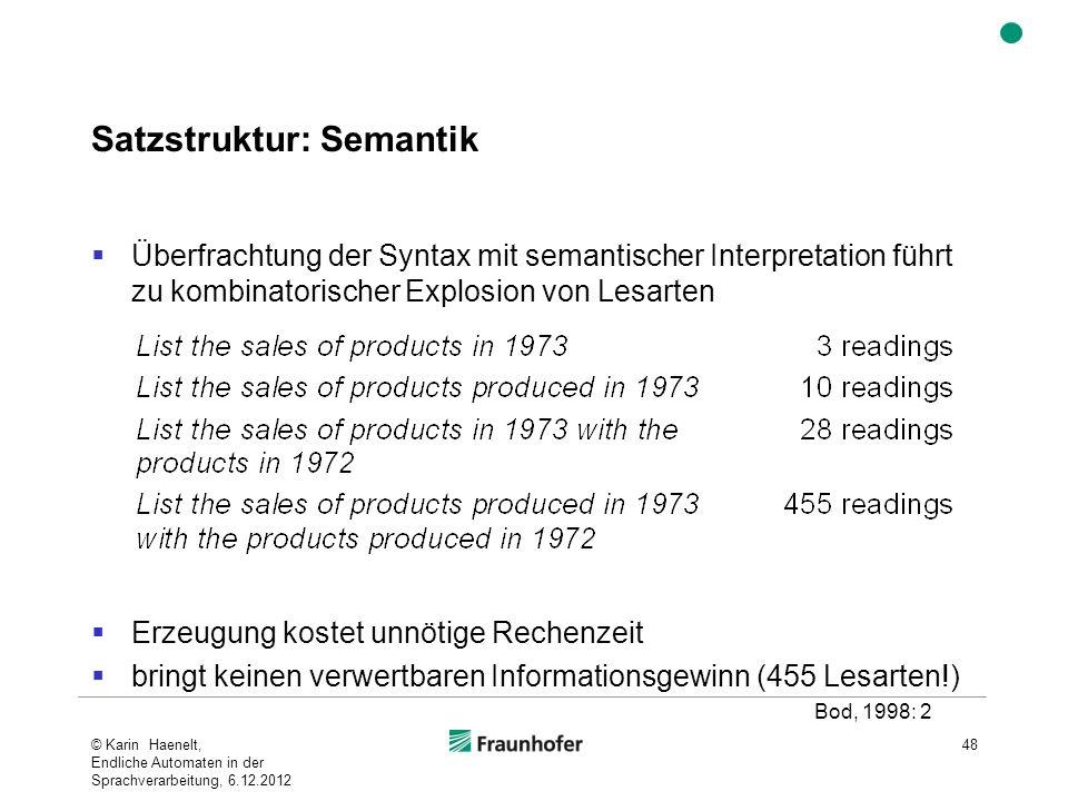 Satzstruktur: Semantik