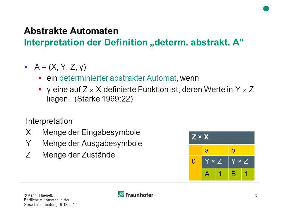 """Abstrakte Automaten Interpretation der Definition """"determ. abstrakt. A"""