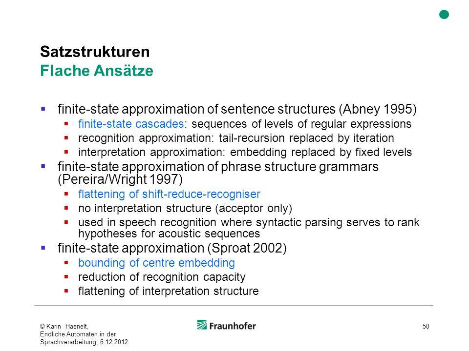 Satzstrukturen Flache Ansätze