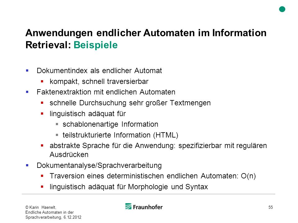 Anwendungen endlicher Automaten im Information Retrieval: Beispiele