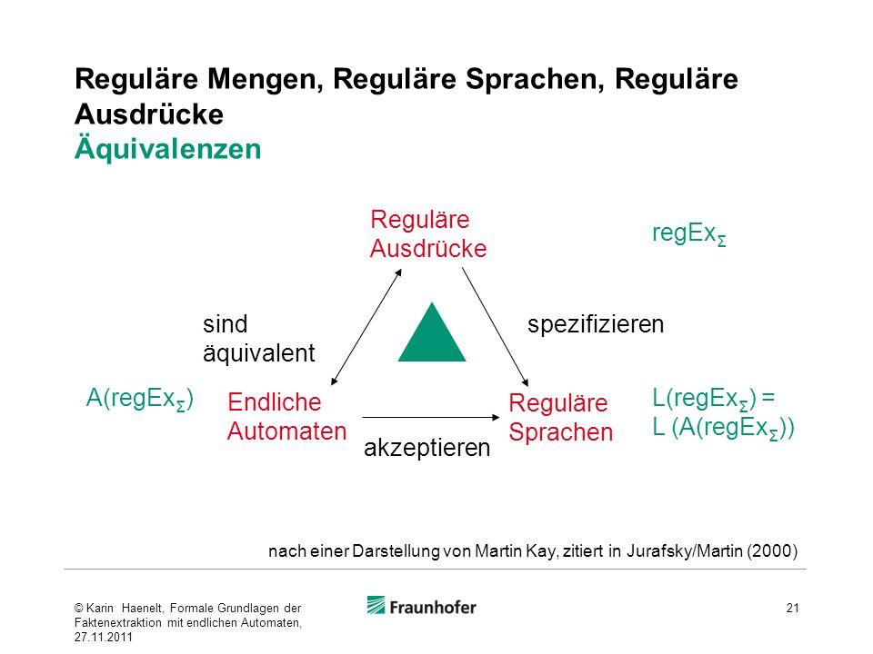 Reguläre Mengen, Reguläre Sprachen, Reguläre Ausdrücke Äquivalenzen