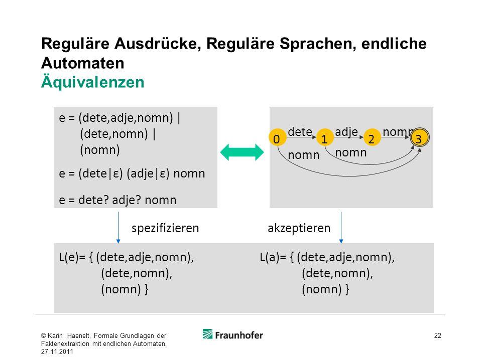 Reguläre Ausdrücke, Reguläre Sprachen, endliche Automaten Äquivalenzen