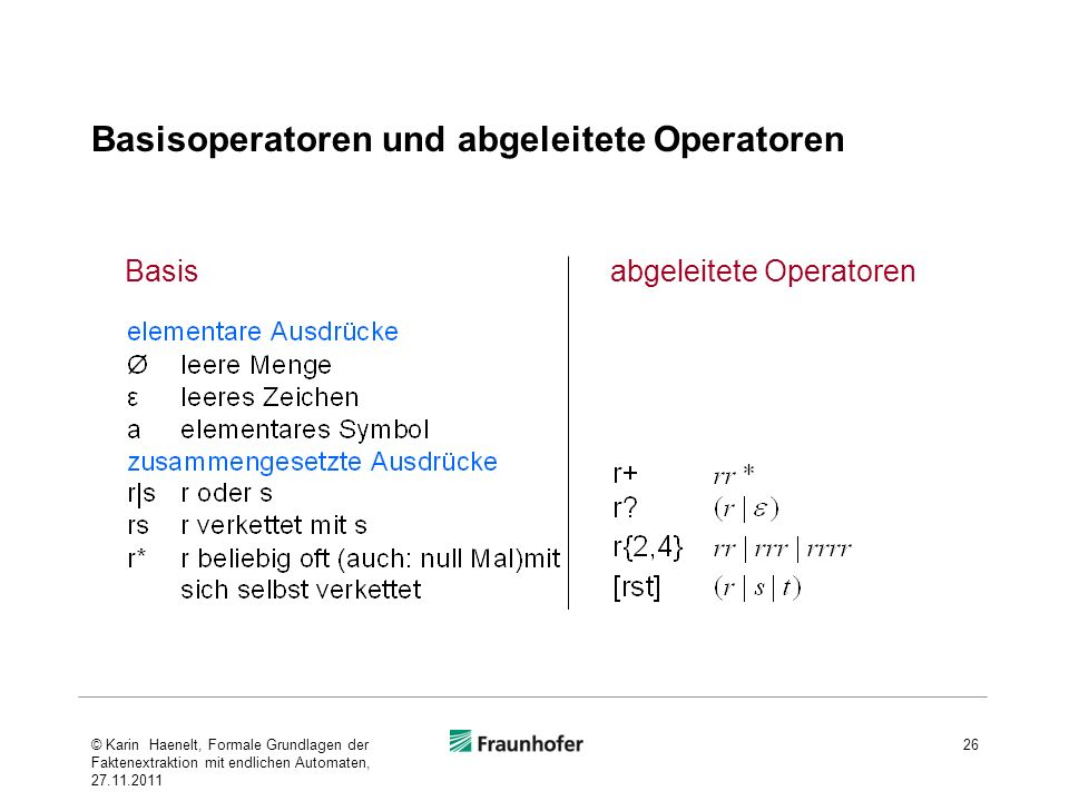 Basisoperatoren und abgeleitete Operatoren