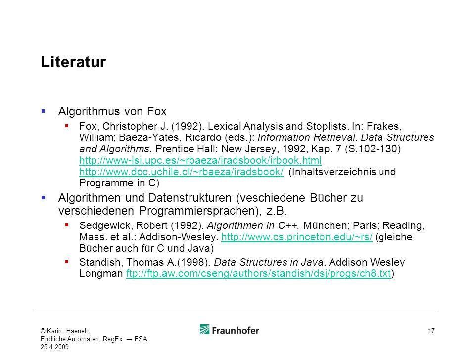 Literatur Algorithmus von Fox