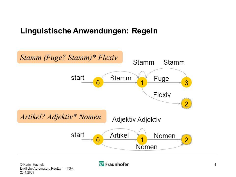 Linguistische Anwendungen: Regeln