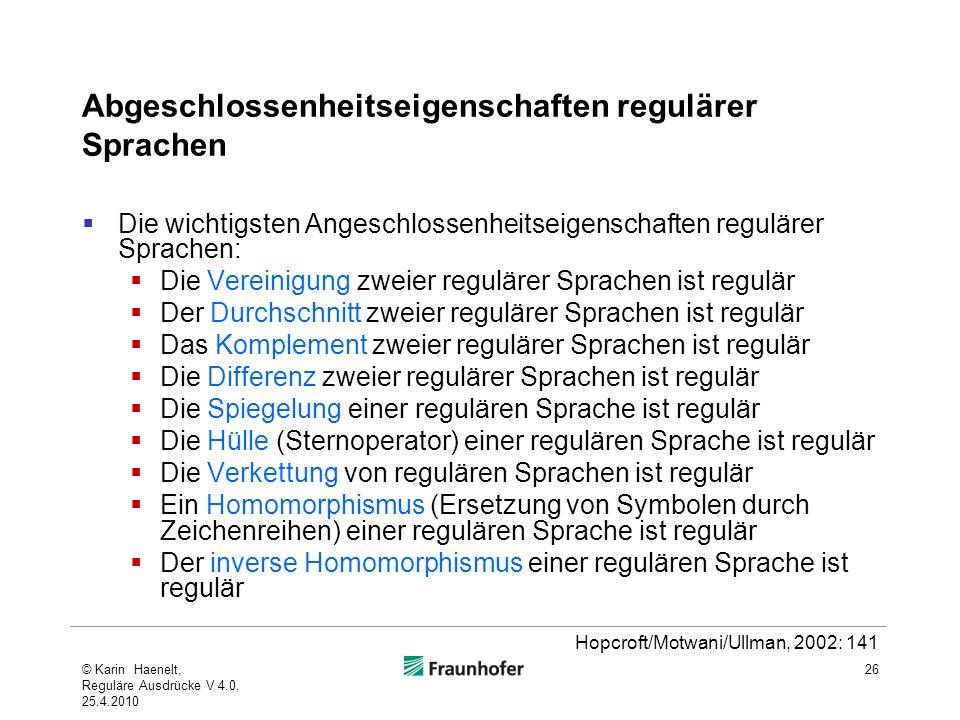 Abgeschlossenheitseigenschaften regulärer Sprachen