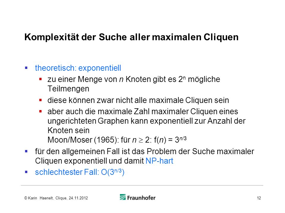 Komplexität der Suche aller maximalen Cliquen