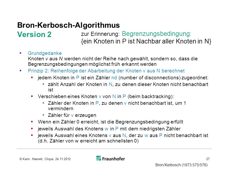 Bron-Kerbosch-Algorithmus Version 2