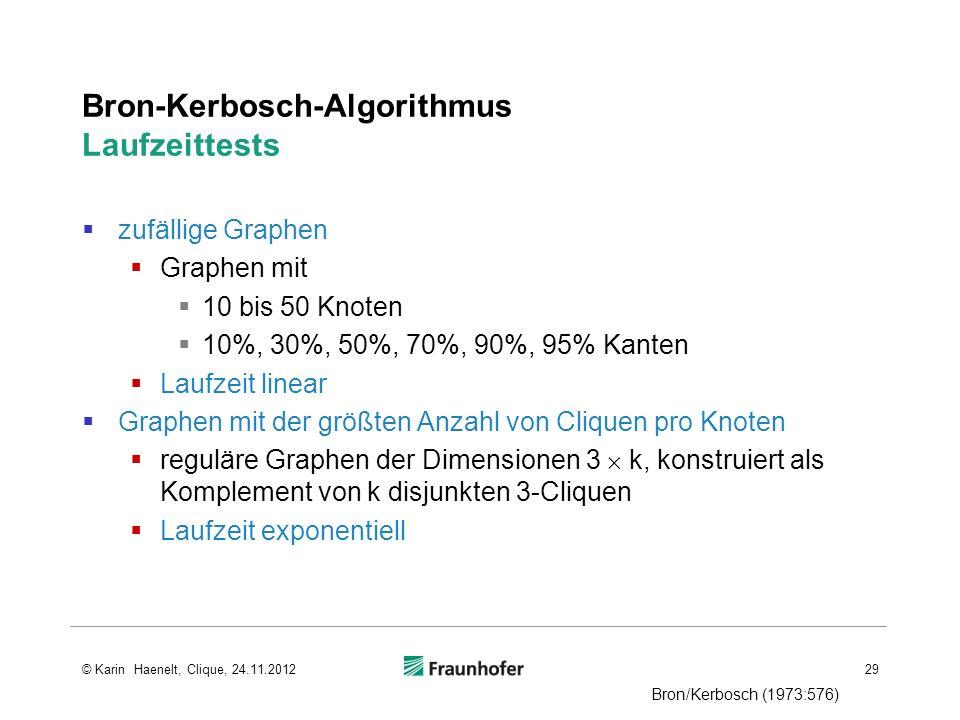 Bron-Kerbosch-Algorithmus Laufzeittests