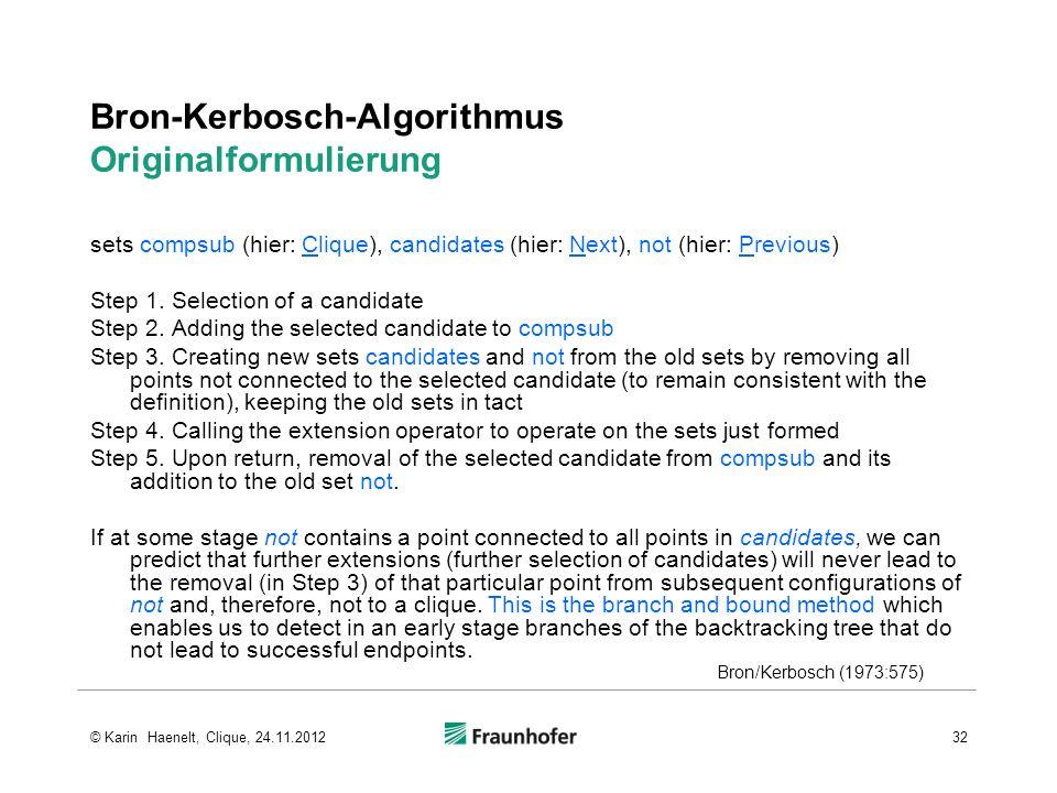 Bron-Kerbosch-Algorithmus Originalformulierung