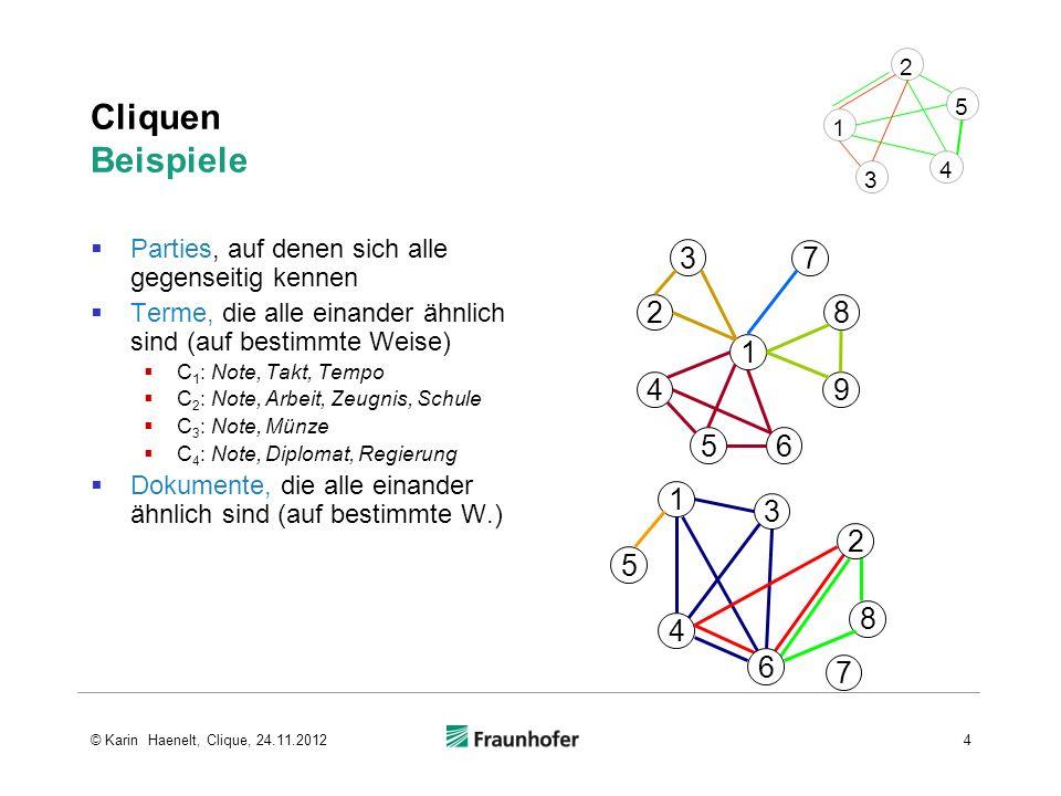 3 4. 5. 1. 2. Cliquen Beispiele. Parties, auf denen sich alle gegenseitig kennen. Terme, die alle einander ähnlich sind (auf bestimmte Weise)