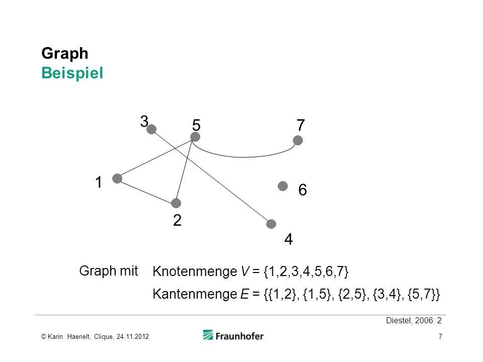 Graph Beispiel 1 2 3 4 5 6 7 Graph mit Knotenmenge V = {1,2,3,4,5,6,7}
