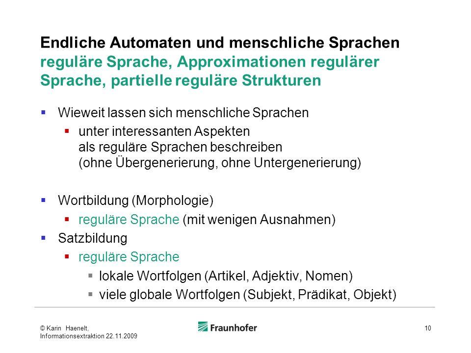 Endliche Automaten und menschliche Sprachen reguläre Sprache, Approximationen regulärer Sprache, partielle reguläre Strukturen