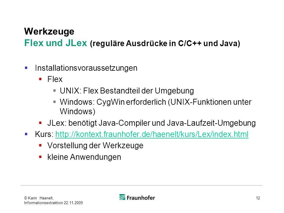 Werkzeuge Flex und JLex (reguläre Ausdrücke in C/C++ und Java)