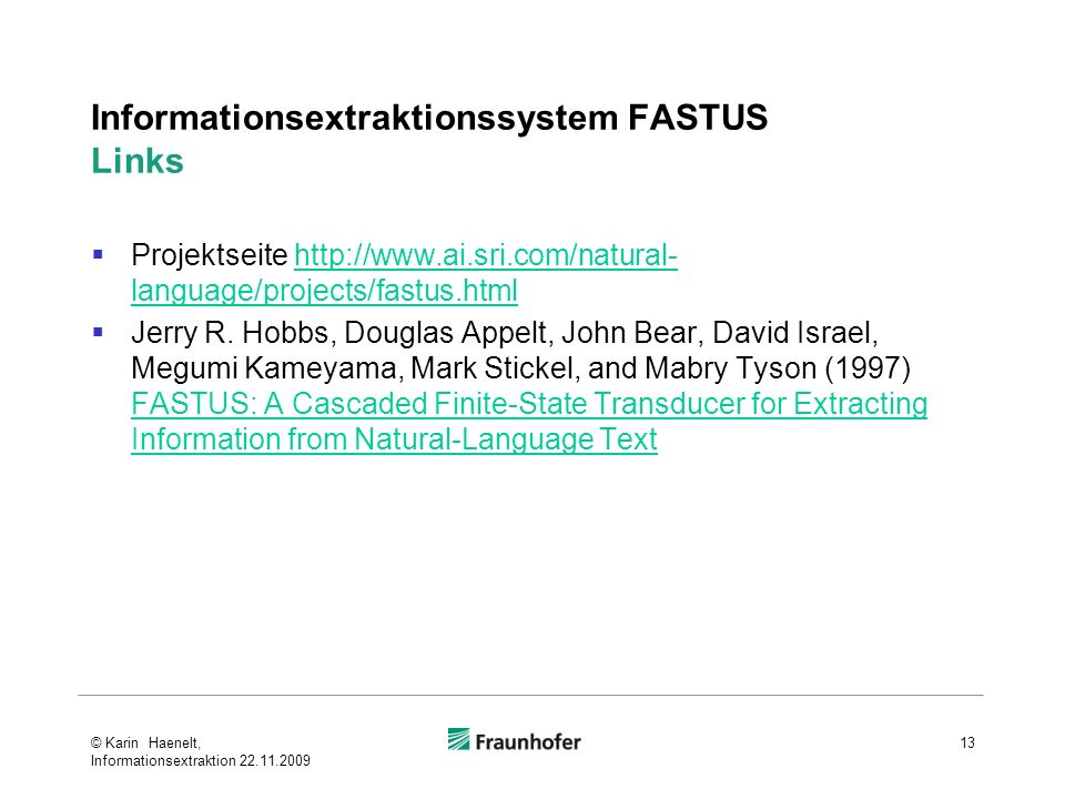Informationsextraktionssystem FASTUS Links