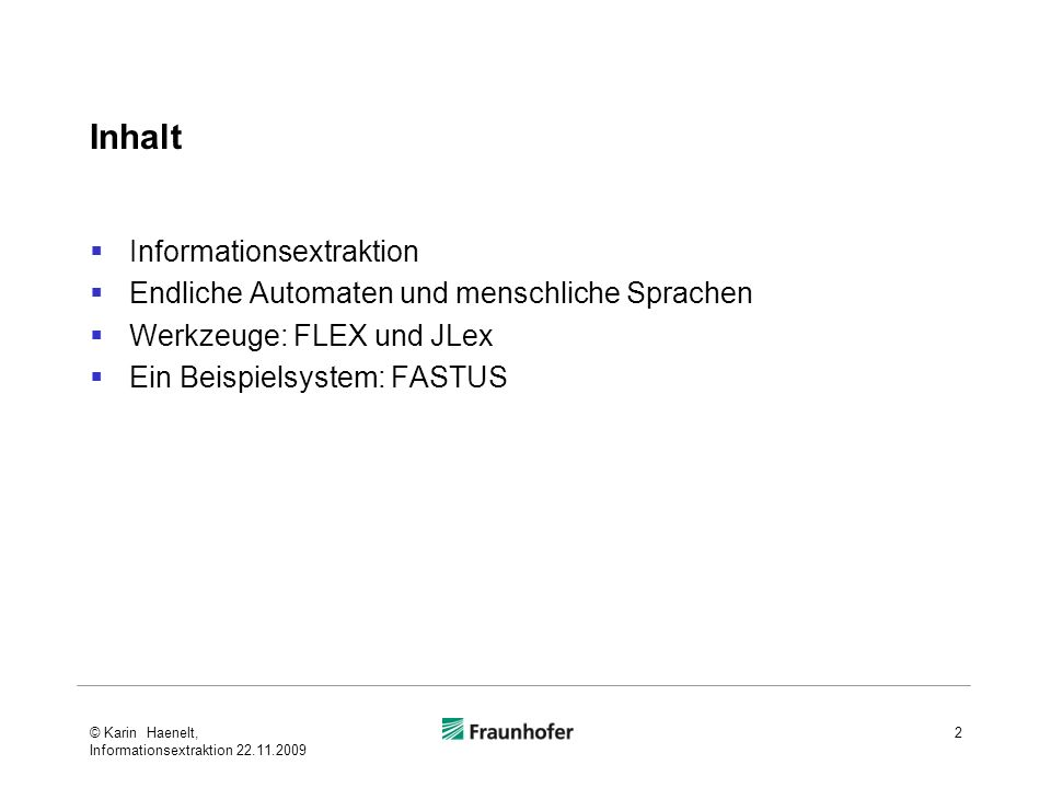 Inhalt Informationsextraktion