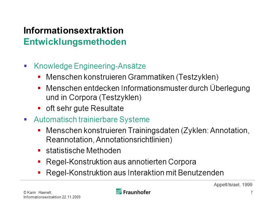 Informationsextraktion Entwicklungsmethoden
