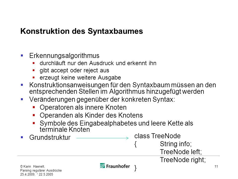 Konstruktion des Syntaxbaumes
