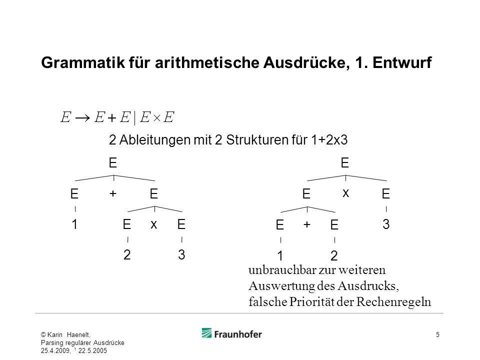 Grammatik für arithmetische Ausdrücke, 1. Entwurf