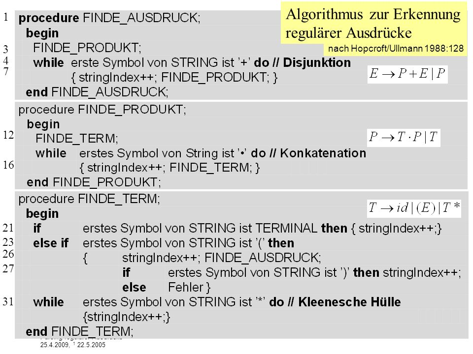 Algorithmus zur Erkennung regulärer Ausdrücke