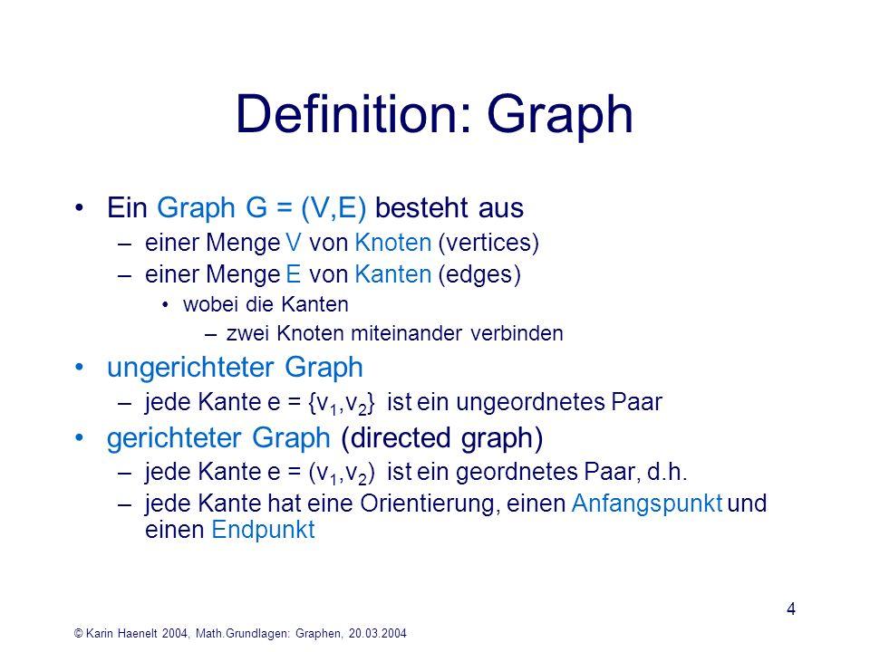 Definition: Graph Ein Graph G = (V,E) besteht aus ungerichteter Graph