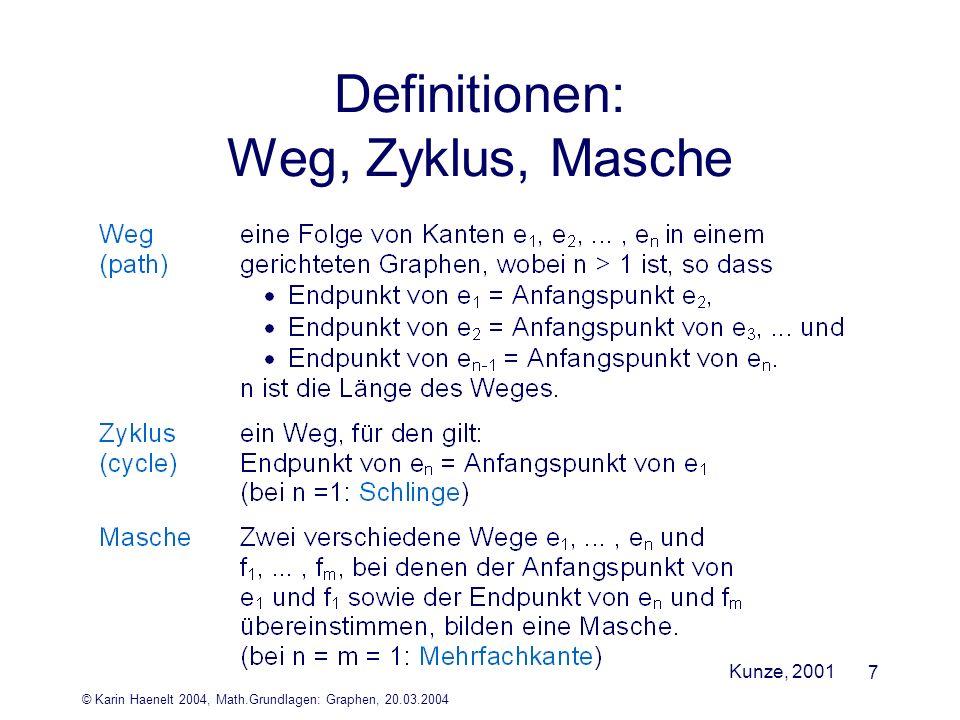 Definitionen: Weg, Zyklus, Masche