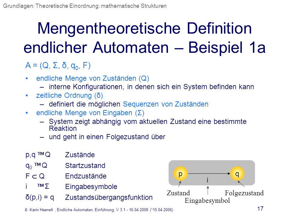 Mengentheoretische Definition endlicher Automaten – Beispiel 1a