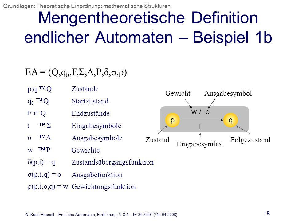 Mengentheoretische Definition endlicher Automaten – Beispiel 1b