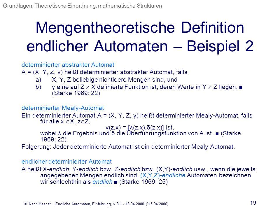 Mengentheoretische Definition endlicher Automaten – Beispiel 2