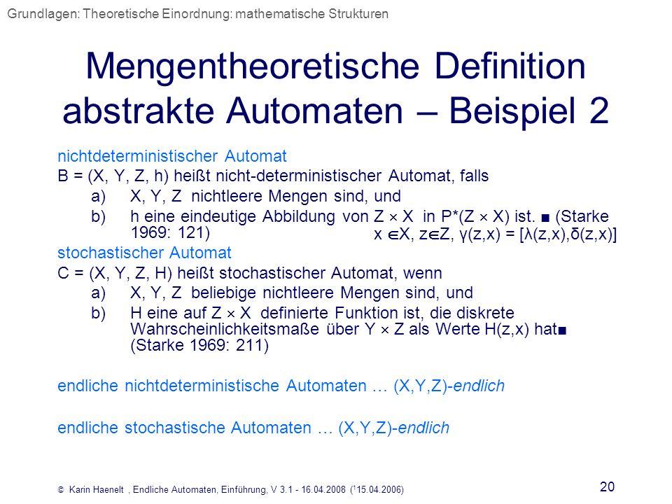 Mengentheoretische Definition abstrakte Automaten – Beispiel 2