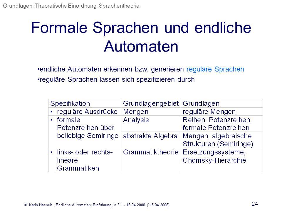 Formale Sprachen und endliche Automaten