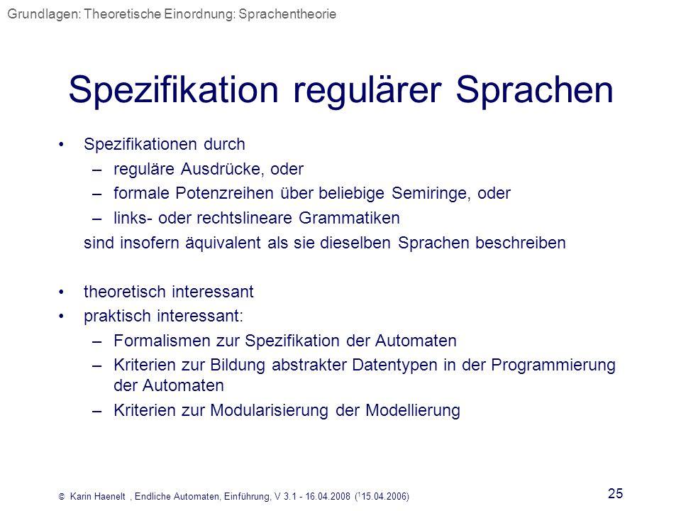 Spezifikation regulärer Sprachen