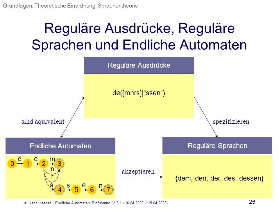 Reguläre Ausdrücke, Reguläre Sprachen und Endliche Automaten
