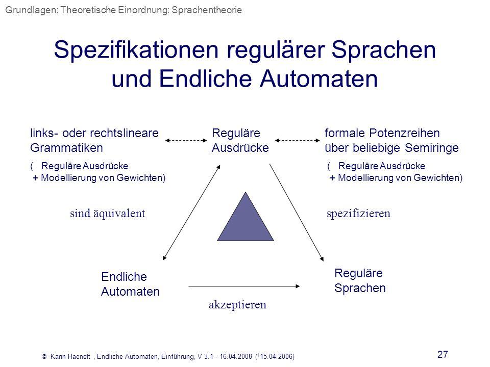 Spezifikationen regulärer Sprachen und Endliche Automaten