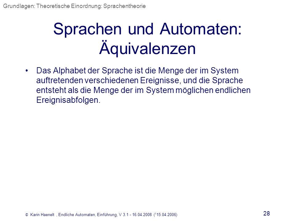 Sprachen und Automaten: Äquivalenzen