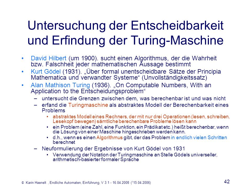 Untersuchung der Entscheidbarkeit und Erfindung der Turing-Maschine