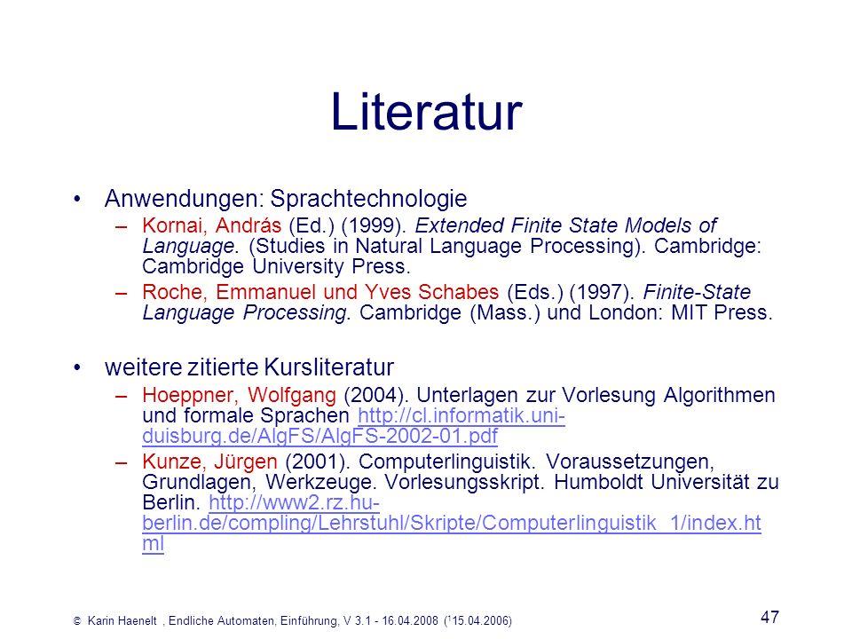 Literatur Anwendungen: Sprachtechnologie