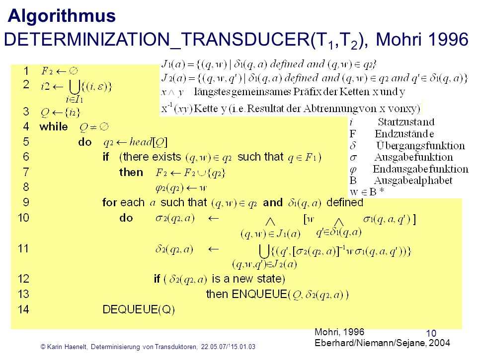 DETERMINIZATION_TRANSDUCER(T1,T2), Mohri 1996
