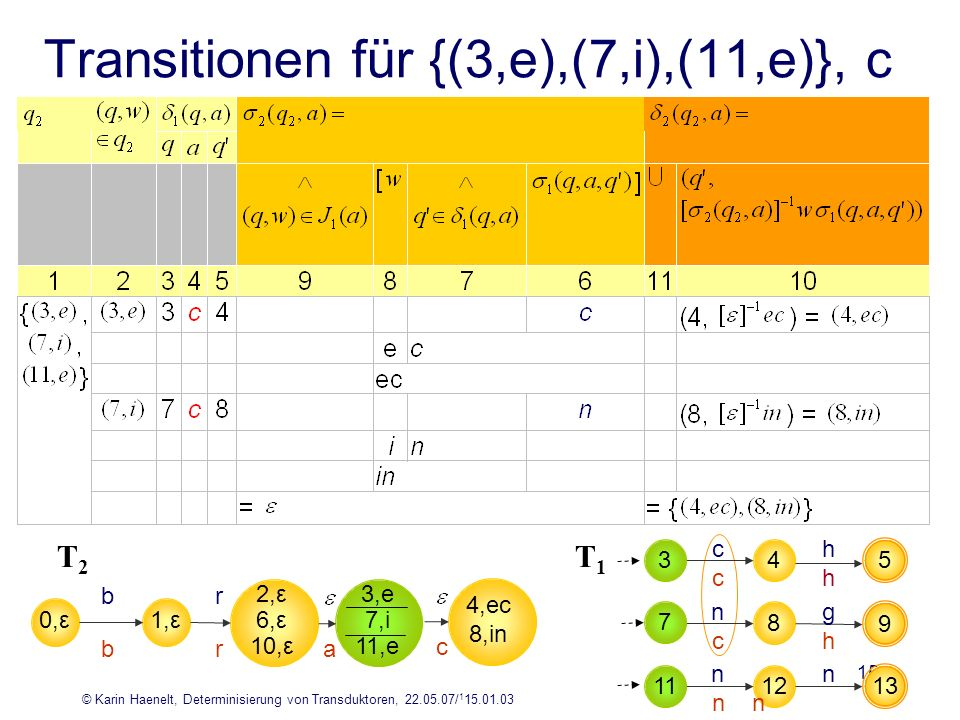 Transitionen für {(3,e),(7,i),(11,e)}, c